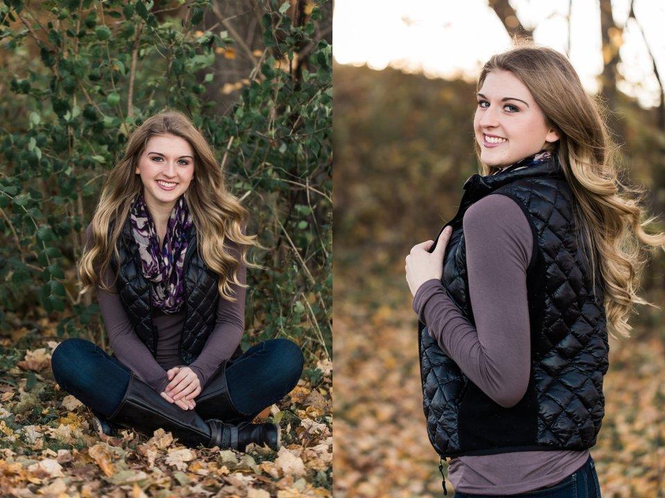 Fall Senior Girl in Leaves
