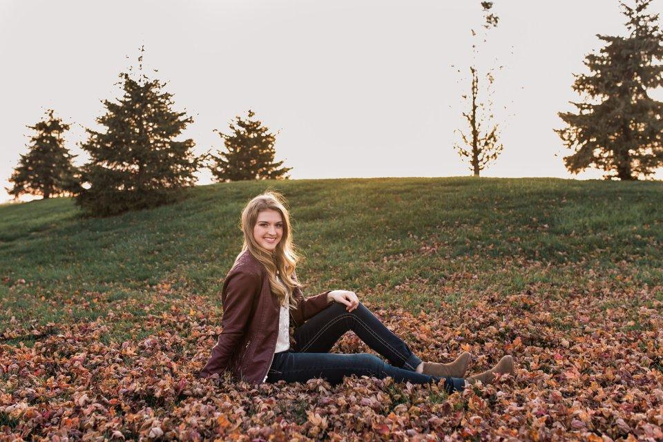 Fall Senior Girl at sunset