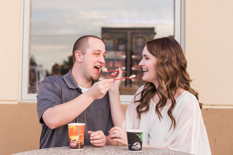 Engagement photos with Dairy Queen blizzards