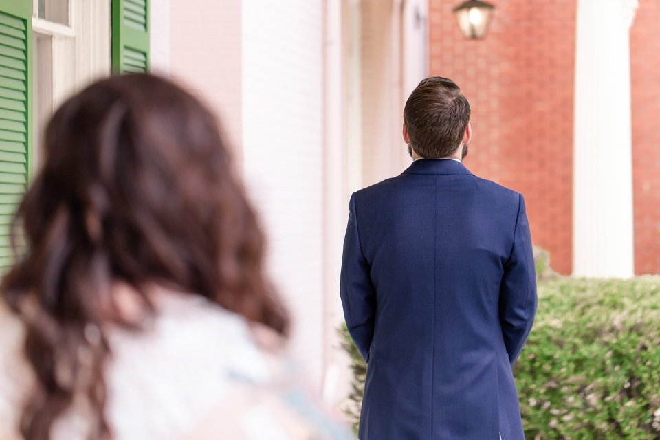 Bride and Groom first look at historic Edwards Place in Springfield by Karen Shoufler Photography