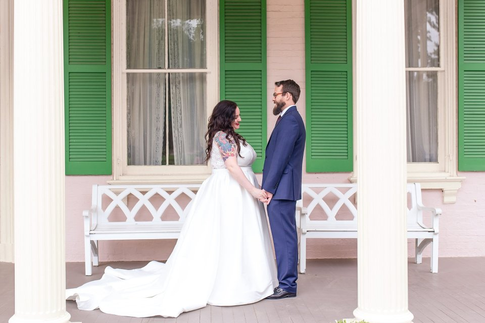 Tattooed bride and bearded groom first look at historic Edwards Place in Springfield by Karen Shoufler