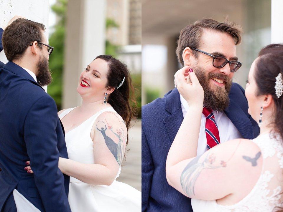 Tattooed Bride and Bearded Groom Wedding in Downtown Springfield by Karen Shoufler