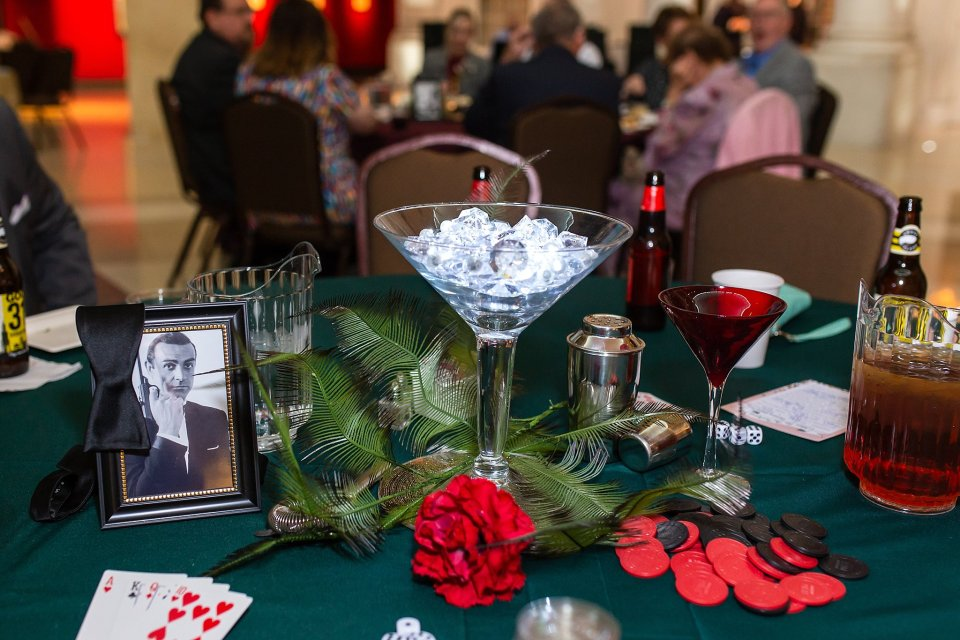 Movie inspired Wedding Centerpieces at Abraham Lincoln Museum in Springfield by Karen Shoufler