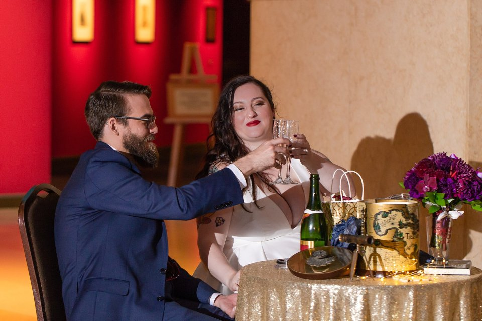Bride and Groom Toast at Wedding at Lincoln Museum in Springfield by Karen Shoufler