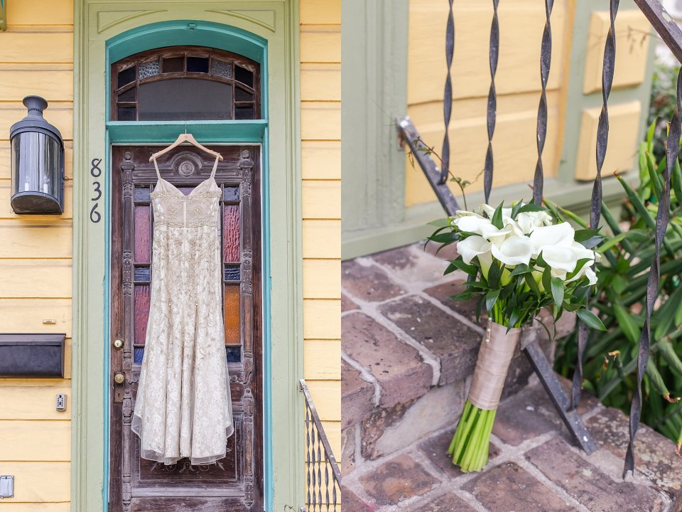 BHLDN Wedding Gown on Shotgun House in New Orleans Wedding