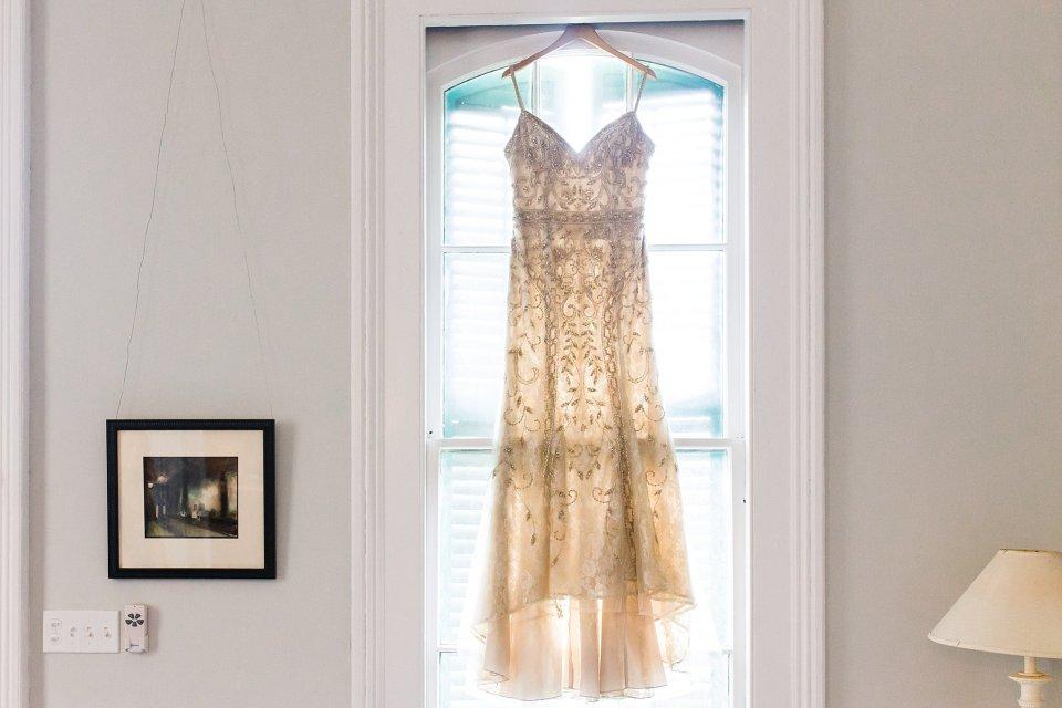 BHLDN Wedding Gown in Shotgun House in New Orleans Wedding