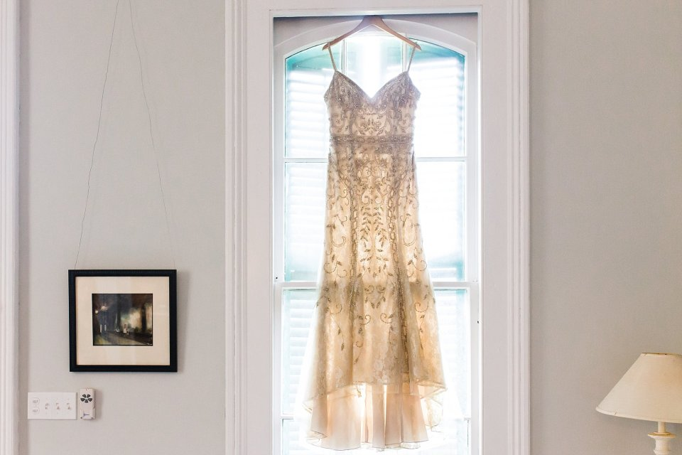 BHLDN Wedding Gown in Shotgun House in New Orleans Wedding