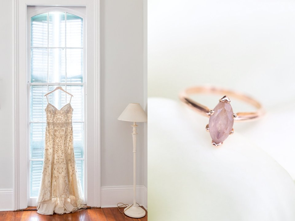 BHLDN Wedding Gown and Morganite Ring on Shotgun House in New Orleans Wedding