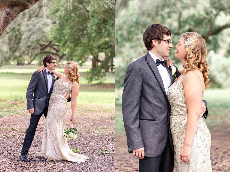 Bride and Groom Wedding Portraits in Audubon Park New Orleans by Karen Shoufler