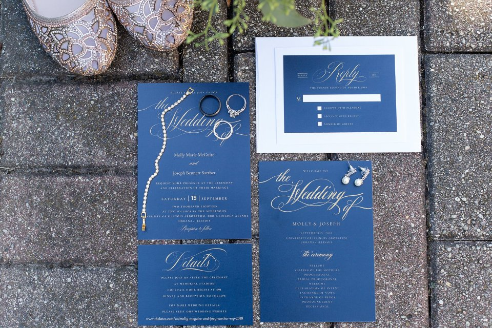 Wedding invitation suite with jewelry by Karen Shoufler Photography