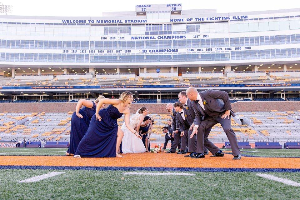 Orange and blue fall wedding at University of Illinois Memorial Stadium by Karen Shoufler Photography