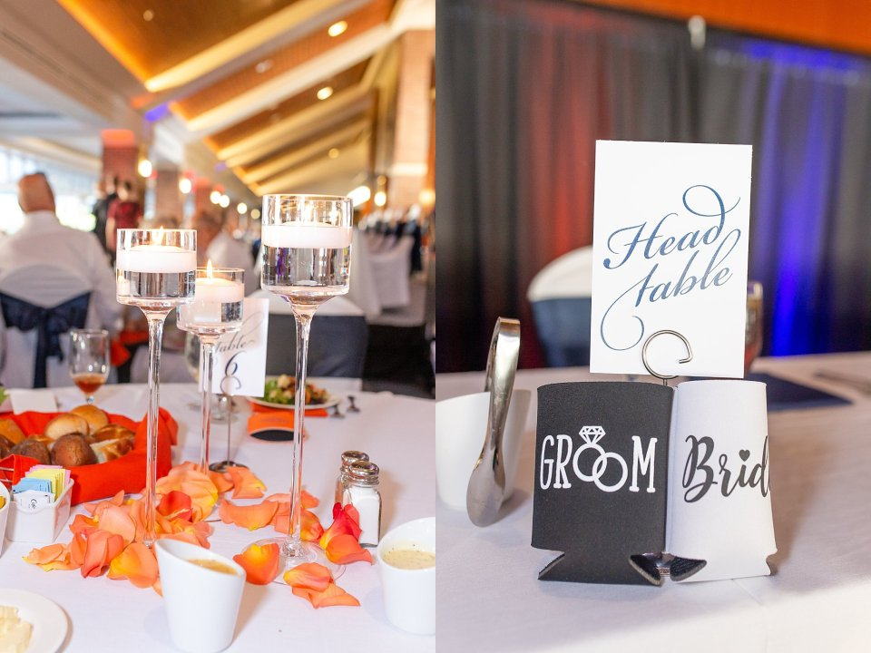 Orange and blue fall wedding at University of Illinois Champaign Urbana Colonnades Club by Karen Shoufler Photography