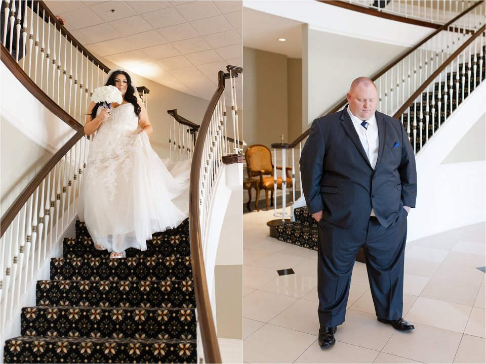 Bride and groom first look at Tuscany Falls in Tinley Park by Karen Shoufler Photography