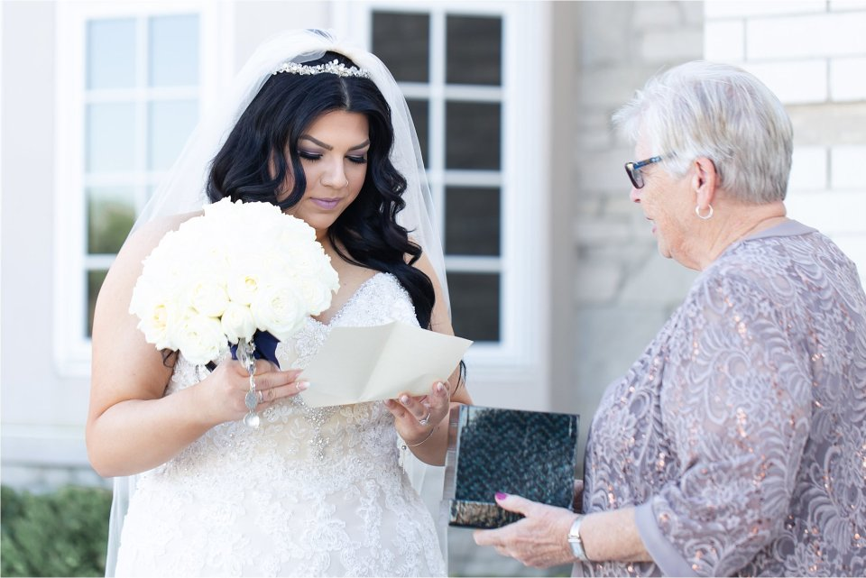 Bride and gift from Grandma at Tuscany Falls in Tinley Park by Karen Shoufler Photography