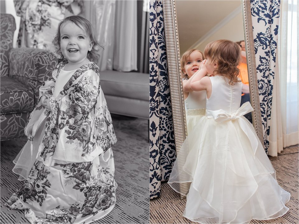Flower girl in robe and flower girl dress at the Doubletree in Springfield, Illinois