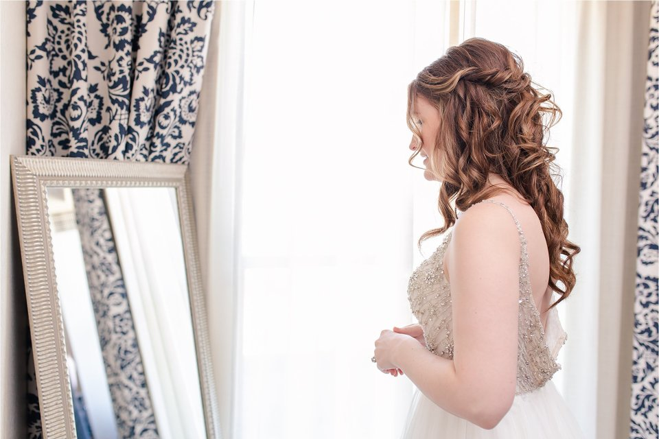 Bride getting ready in Presidential Suite at the Doubletree in Springfield, Illinois