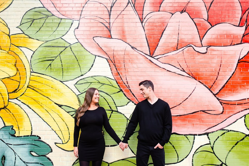 Chicago Lakeview engagement photography at mural in Southport Corridor