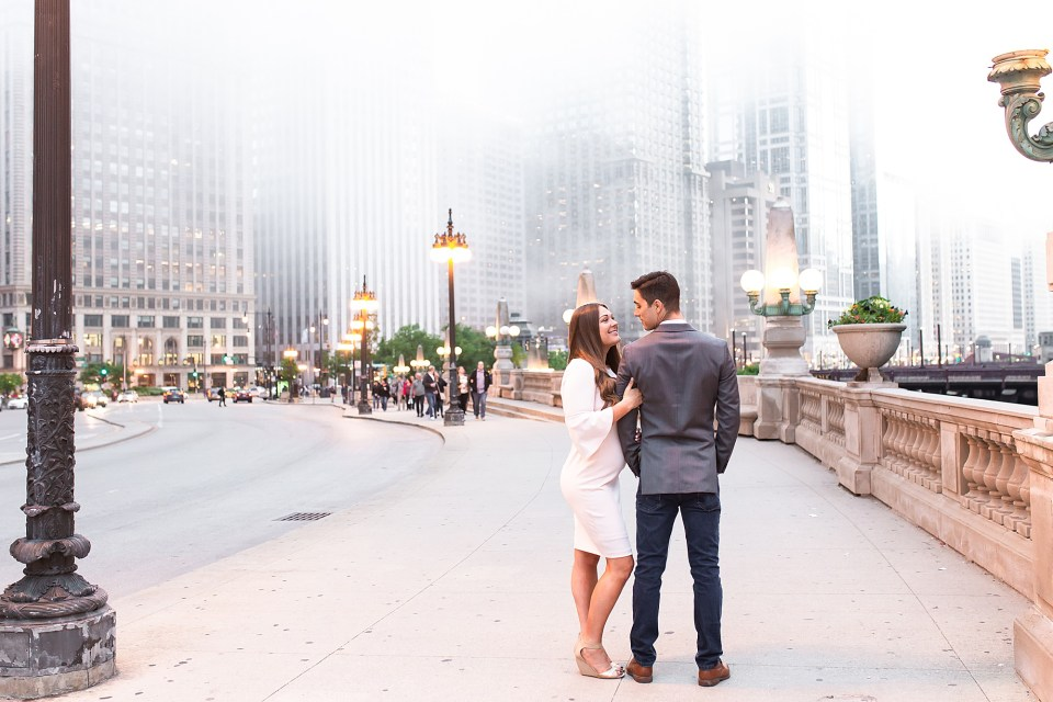 Chicago Riverwalk Engagement Photography in the fog along the river