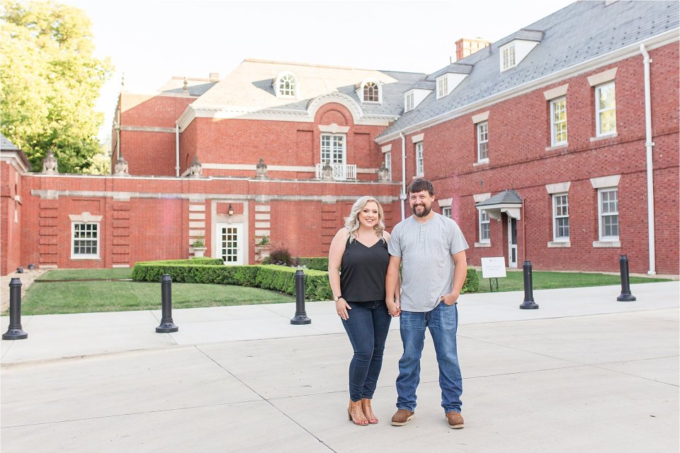 Couple in front of the mansion at Allerton Park in Monticello, Illinois | Karen Shoufler Photography