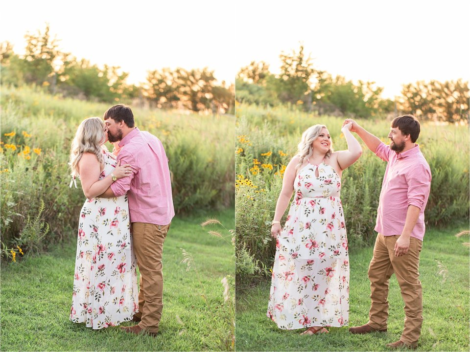Couple in field of wildflowers during sunset at Allerton Park | Karen Shoufler Photography