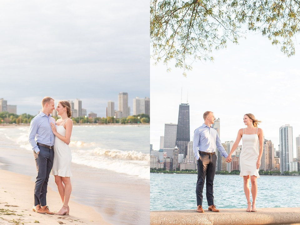 Beautiful couple at North Avenue Beach with Chicago Skyline engagement photos by Karen Shoufler Photography