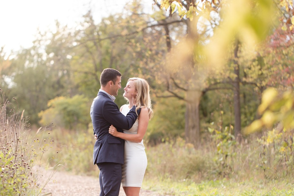 Chicagoland fall engagement session at Morton Arboretum