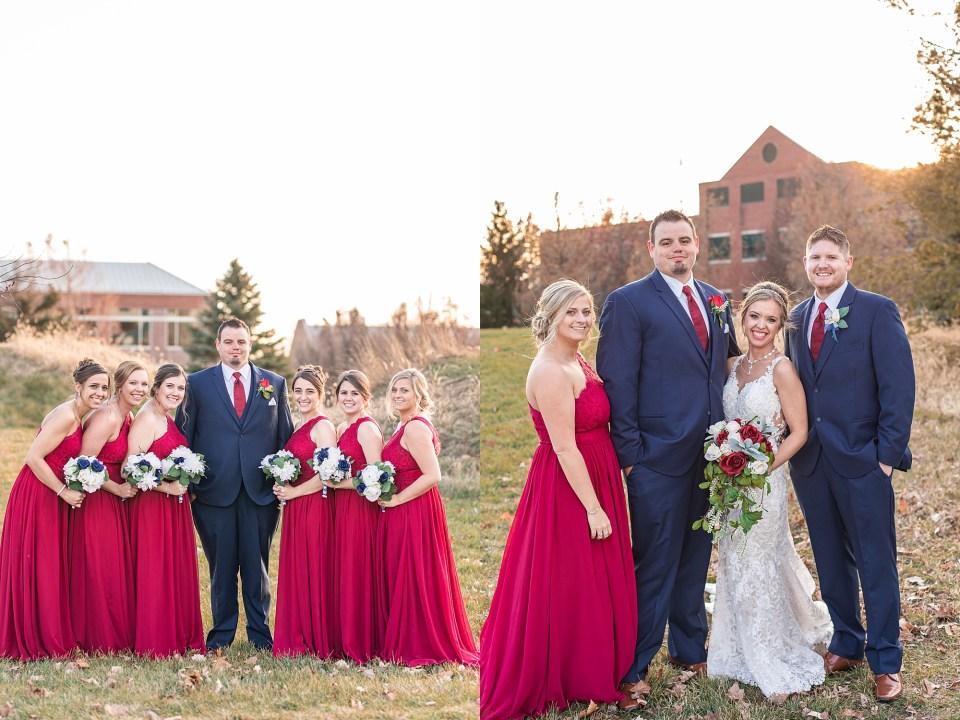 Winter wedding party portraits in Champaign, Illinois