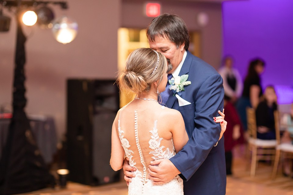Father daughter dance at winter wedding at iHotel in Champaign, Illinois