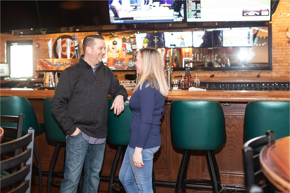 Downtown Grayslake Winter Engagement Session at Emil's Sports Bar