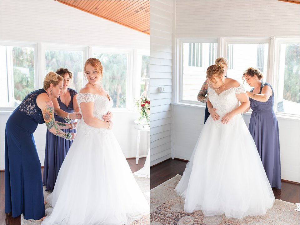 Bride and mom getting dressed in Heitman House wedding in downtown Ft Myers, Florida