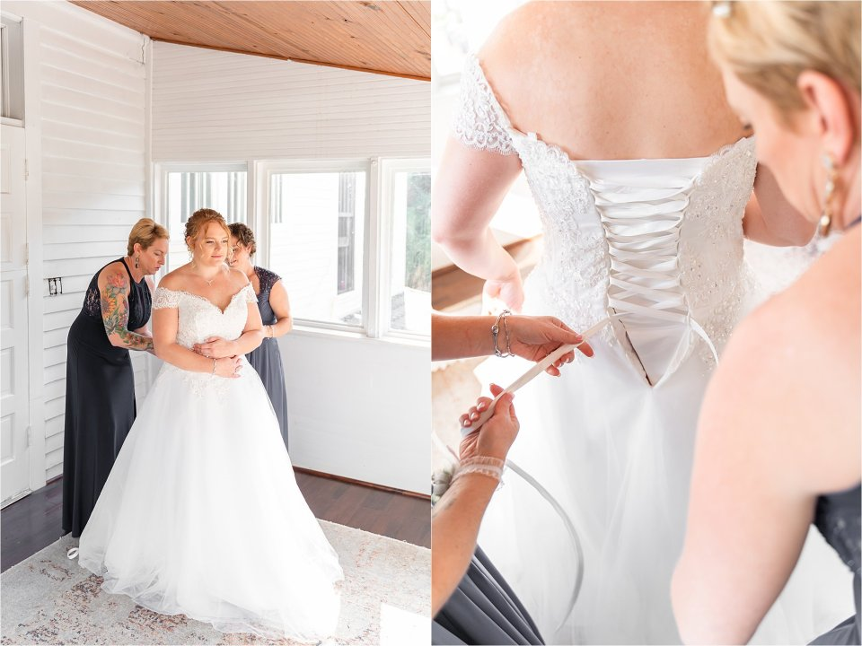 bride and moms getting ready at Heitman House in downtown Ft Myers, Florida wedding