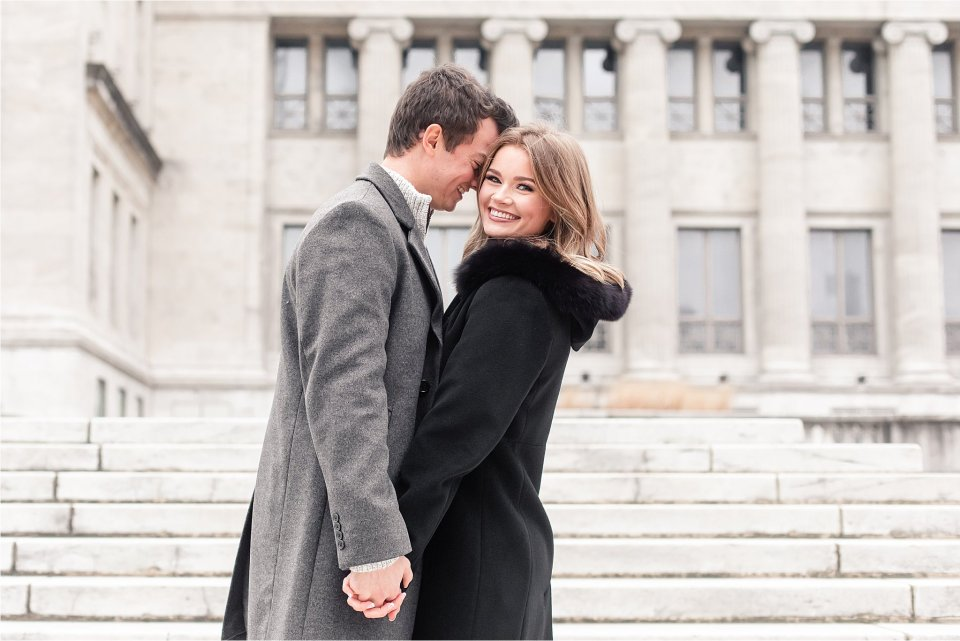 Classy engagement session at Field Museum in Chicago by Karen Shoufler