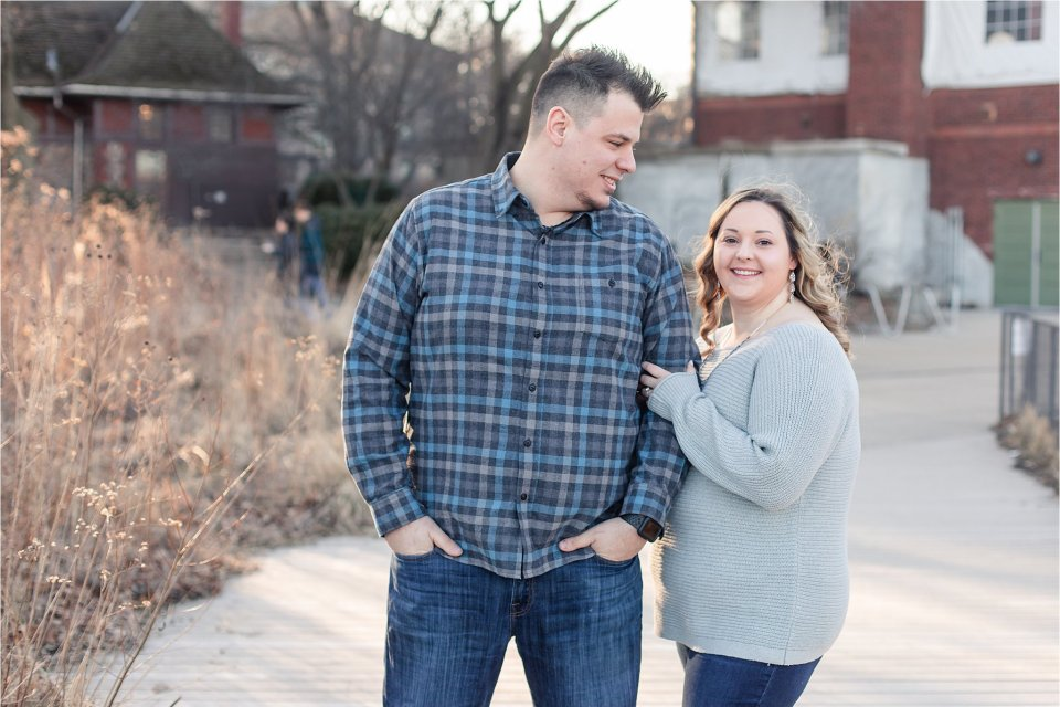 Winter Engagement Photos at Lincoln Park Nature Boardwalk by Karen Shoufler