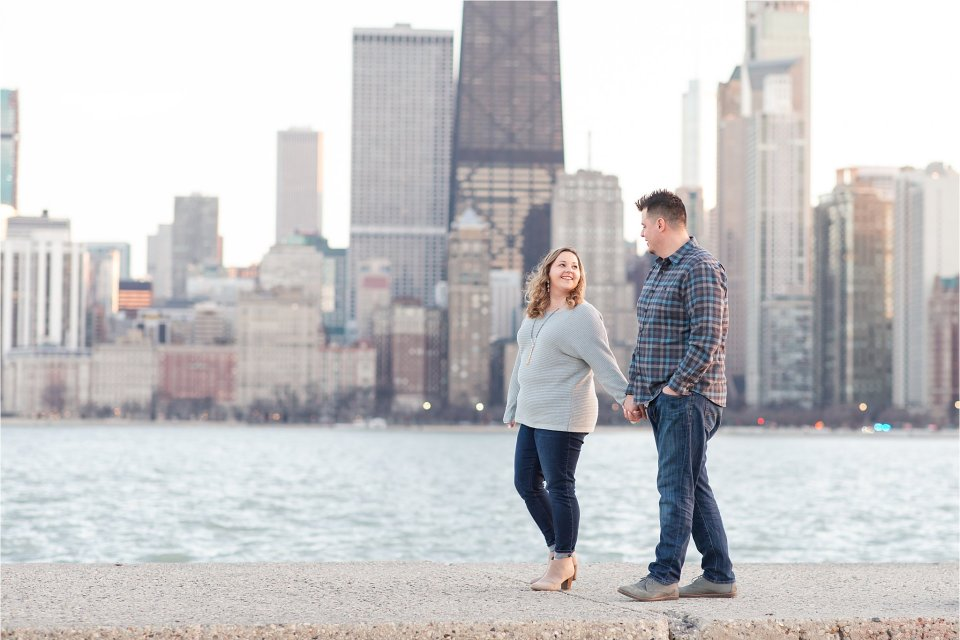 North Avenue Beach Winter Engagement Photos in Chicago by Karen Shoufler
