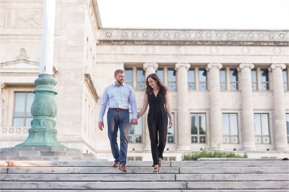 engagement photo at the museum campus on steps of Field Museum in Chicago