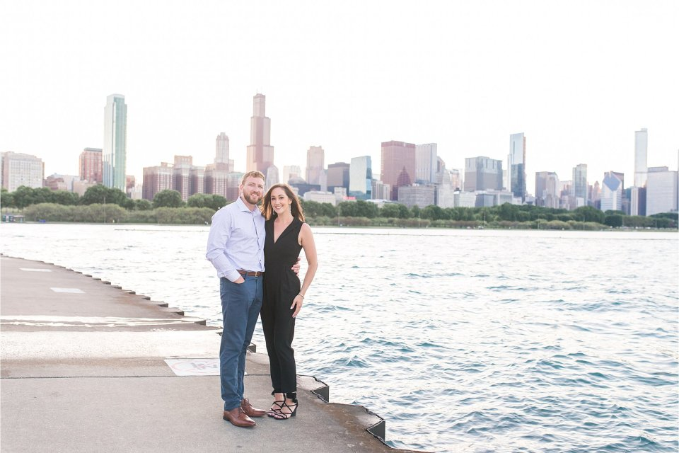 engagement photo at the museum campus in front of Lake Michigan in Chicago