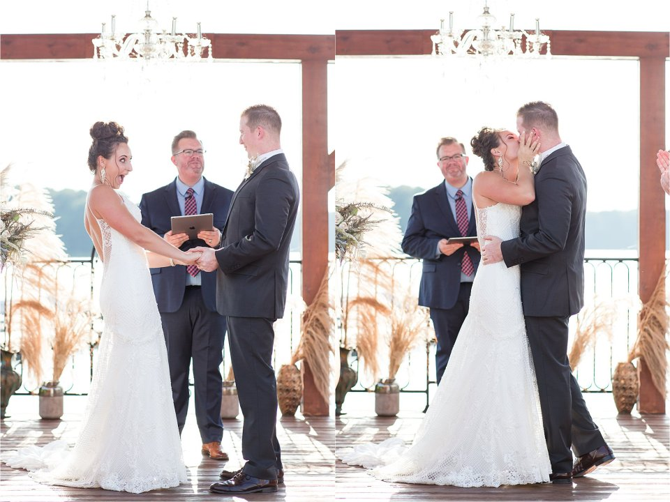Bride and groom first kiss at Egyptian Hills Resort Wedding