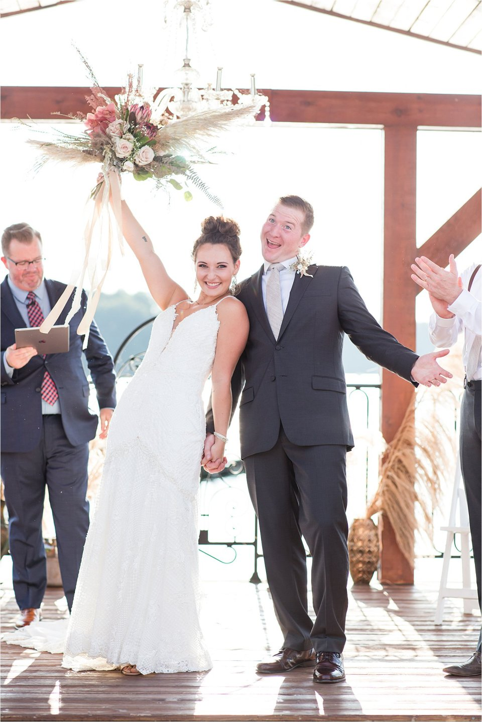 bride and groom just married at Egyptian Hills Resort wedding