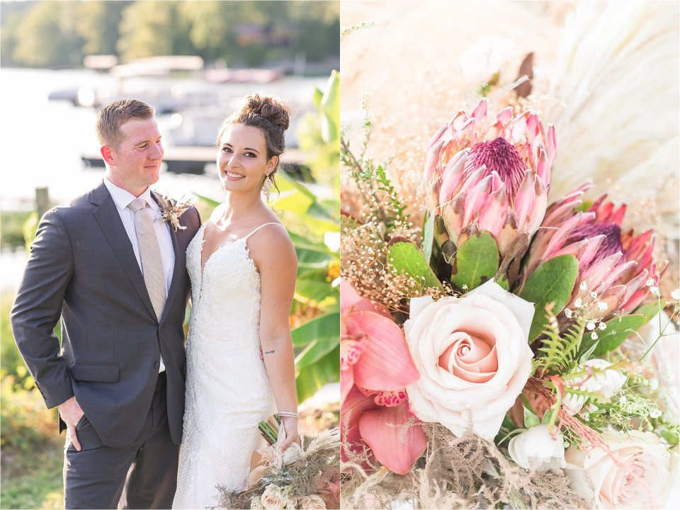 bride and groom with bouquet at Lake of Egypt wedding