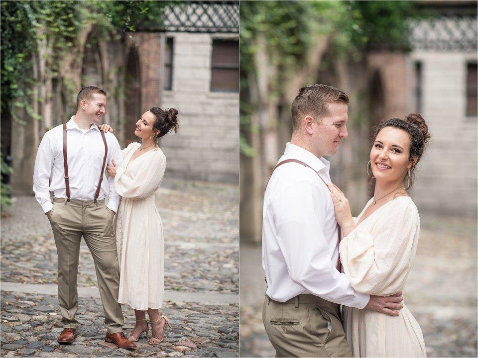 Couple downtown in Savannah, GA by destination photographer Karen Shoufler