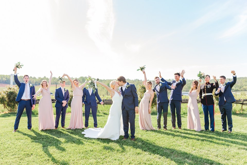 stone tower winery wedding party photos