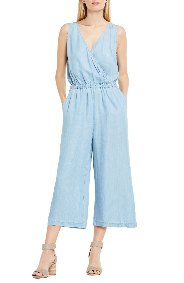 Two by Vince Camuto Surplice Chambray Culotte Jumpsuit