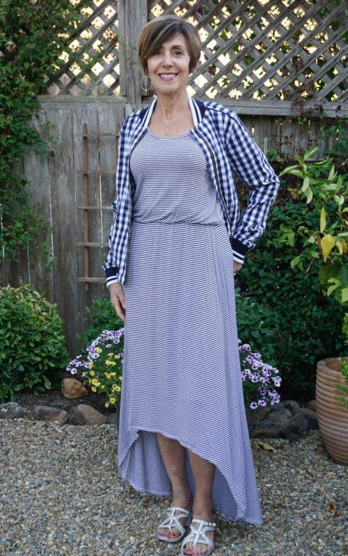Blue stripe summer dress with jacket