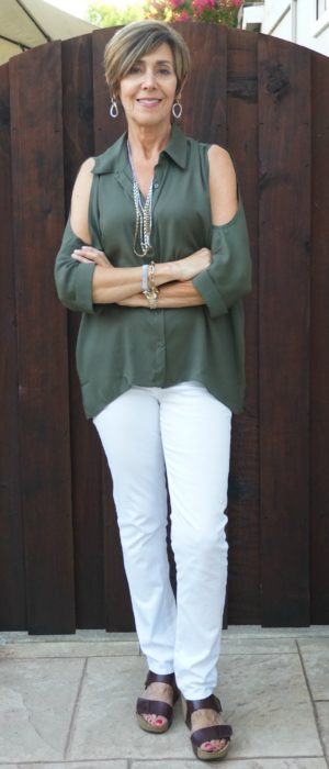Olive cold shoulder blouse