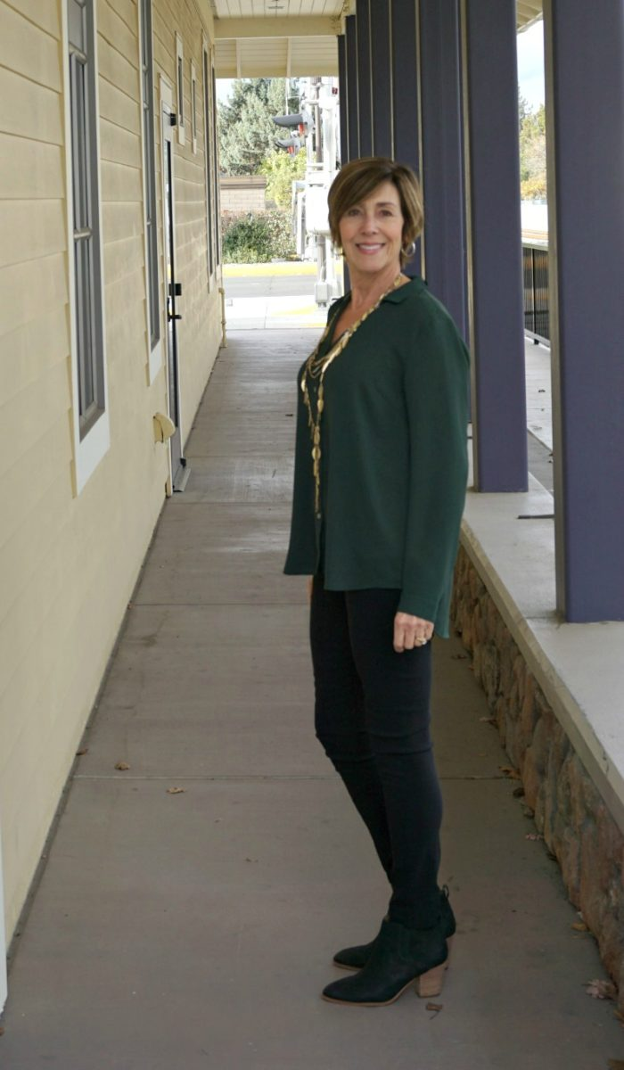 Thanksgiving Outfit - Green Blouse in Corridor