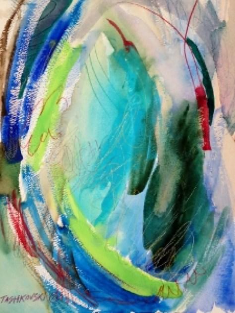 """Ocean, 12"""" x 9"""", 2001, watercolor + colored pencil"""