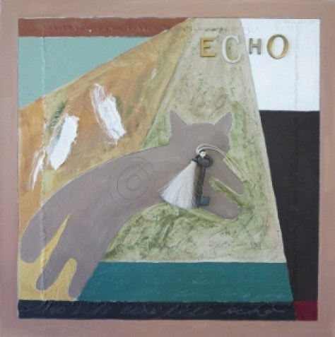 "Echo 3, 18"" x 18"", oil & collage, 2005"