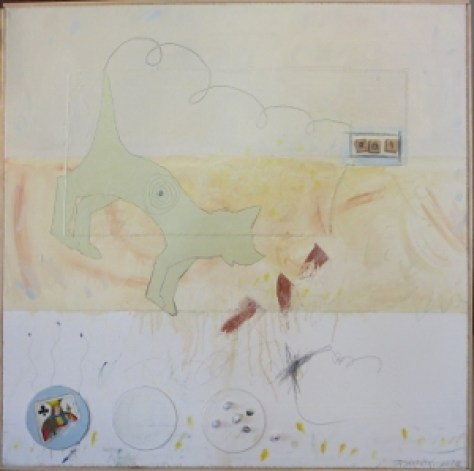 "Karen Tashkovski, Roi, 30"" x 30"", 2000, oil, latex & collage, $675"