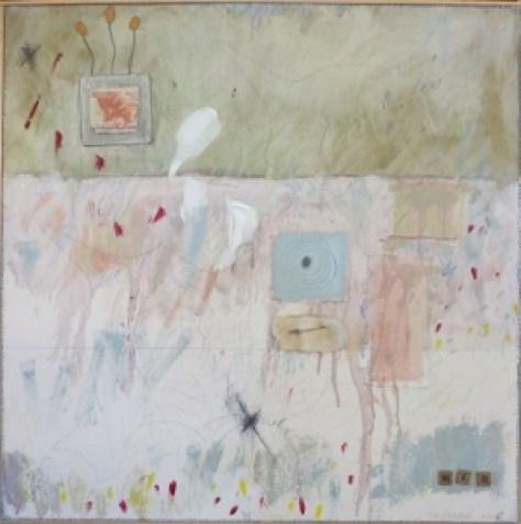 """Karen Tashkovski, Web, 30"""" x 30"""", 2000, oil, latex & collage, $675"""