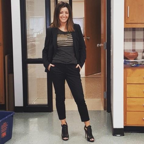 Banana Republic suit with cropped pants, Rachel Roy top